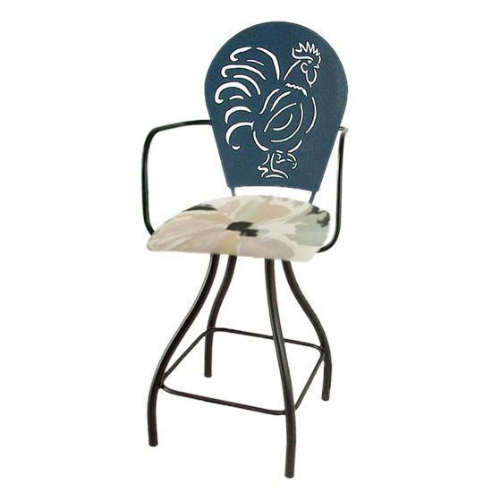 "Grace Collection Rooster Silhouette 24"" Seat Height Swivel Bar Stool w/Arms"