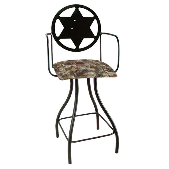 "Grace Collection Western Theme Sheriff Silhouette 24"" Seat Height Swivel Bar Stool w/Arms"