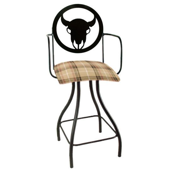 "Grace Collection Western Theme Steer Silhouette 24"" Seat Height Swivel Bar Stool w/Arms"