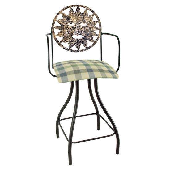 "Grace Collection Celestial Theme Sun Silhouette 24"" Seat Height Swivel Bar Stool w/Arms"