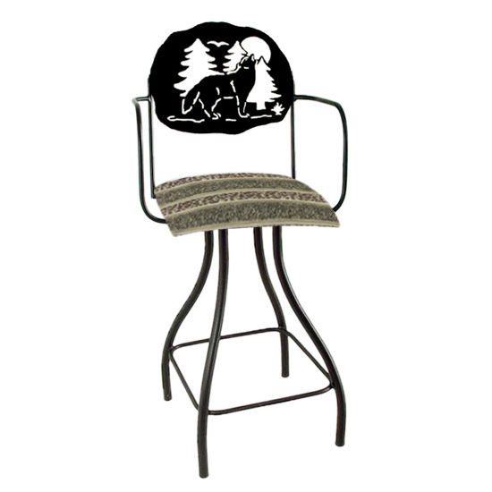 "Grace Collection Lodge Theme Wolf Silhouette 24"" Seat Height Swivel Bar Stool w/Arms"