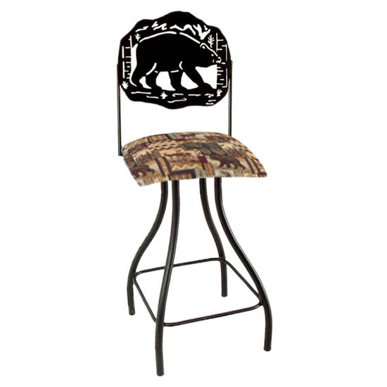 "Grace Collection Lodge Theme Bear Silhouette 24"" Seat Height Swivel Bar Stool"