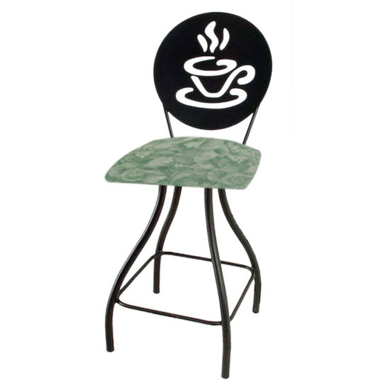 "Grace Collection Coffee Cup Silhouette 24"" Seat Height Swivel Bar Stool"