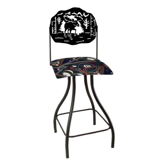 "Grace Collection Lodge Theme Moose Silhouette 24"" Seat Height Swivel Bar Stool"