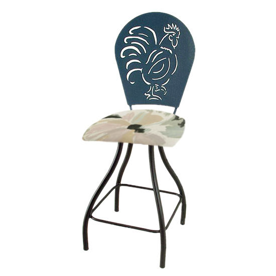 "Grace Collection Rooster Silhouette 24"" Seat Height Swivel Bar Stool"