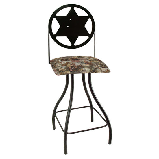 "Grace Collection Western Theme Sheriff Silhouette 24"" Seat Height Swivel Bar Stool"