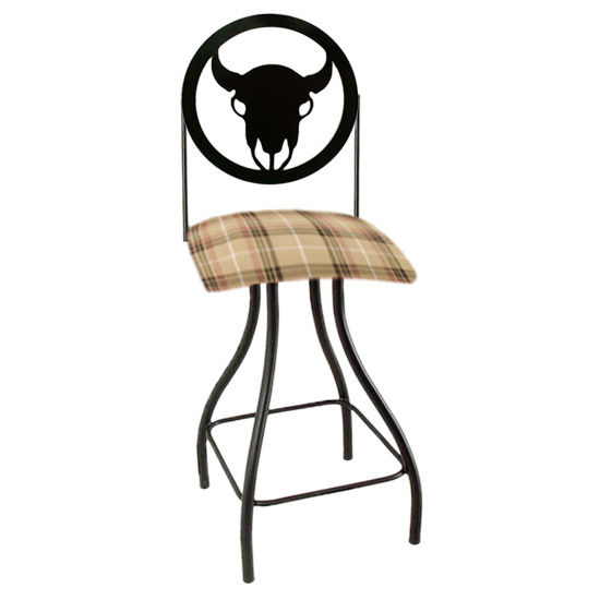 "Grace Collection Western Theme Steer Silhouette 24"" Seat Height Swivel Bar Stool"