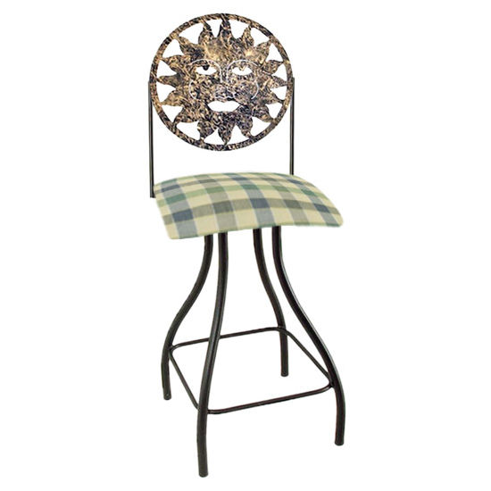 "Grace Collection Celestial Theme Sun Silhouette 24"" Seat Height Swivel Bar Stool"