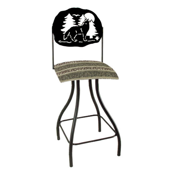 "Grace Collection Lodge Theme Wolf Silhouette 24"" Seat Height Swivel Bar Stool"