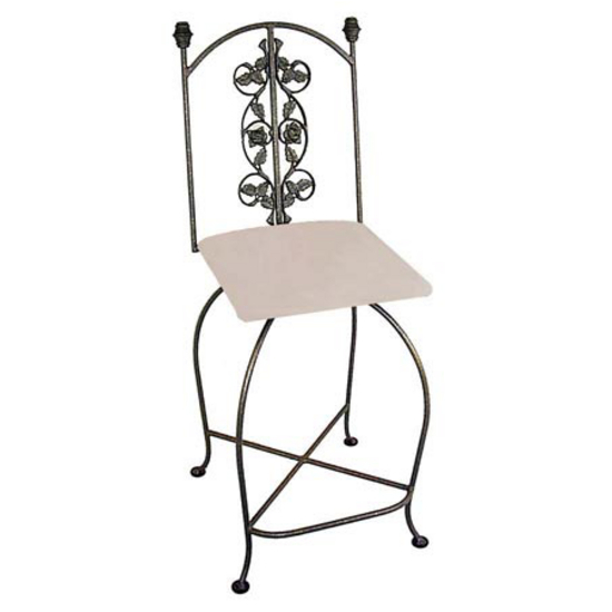 "Grace Collection 24"" Iron Bar Stool with Rose Design in a Variety of Finishes"