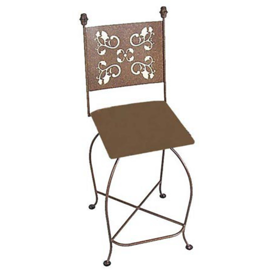 "Grace Collection 24"" Iron Bar Stool with Leaves Design in a Variety of Finishes"