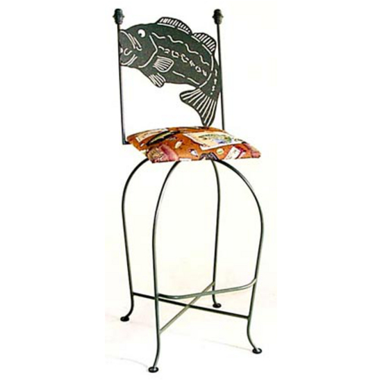 "Grace Collection 24"" Bar Stool with Fish Design in a Variety of Finishes"