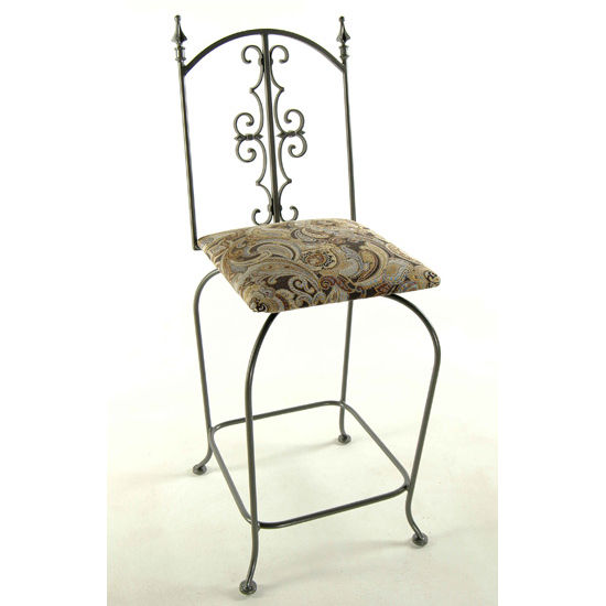 "Grace Collection 24"" Gothic Iron Bar Stool in a Variety of Finishes"