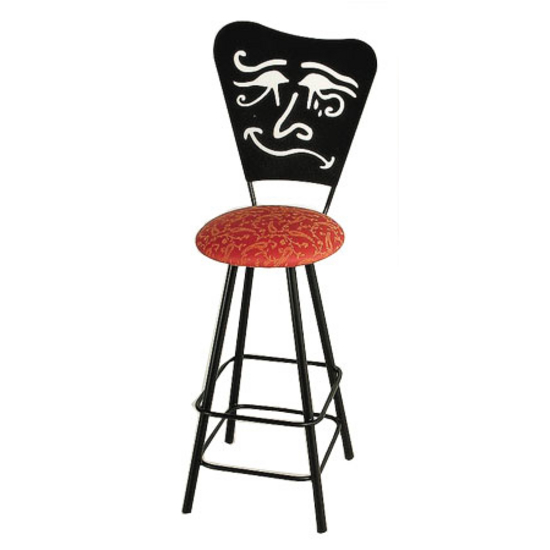 "Grace Collection 24"" Swivel Bar Stool with Mardi Gras Design in a Variety of Finishes"