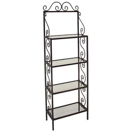 bakers racks 24 w traditional bakers racks w glass shelves rh kitchensource com iron bakers rack glass shelves Stained Glass Storage Rack