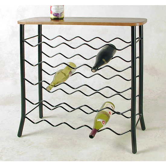 25 Bottle Wine Rack/Server - Wood Top