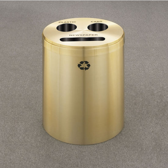 RecyclePro III Receptacles for Bottles, Cans & a Slot for Paper