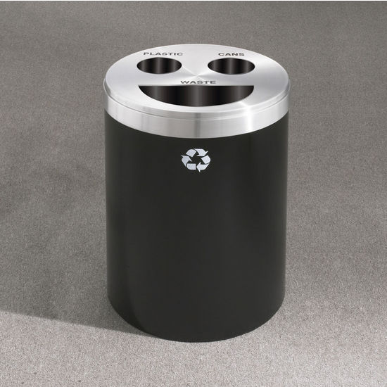 RecyclePro III Receptacles for Bottles, Cans & a Half Round Hole for Waste