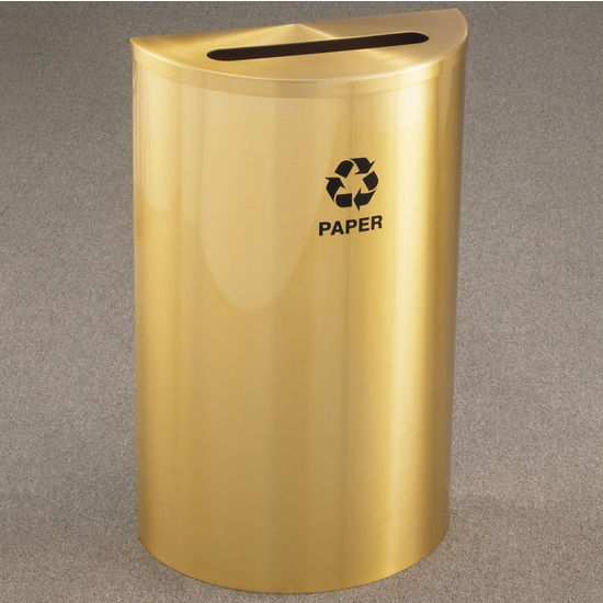 """Single Purpose Half Round Recycling Receptacles with Hinged Lids, 2-1/2"""" x 9-1/2"""" Opening"""