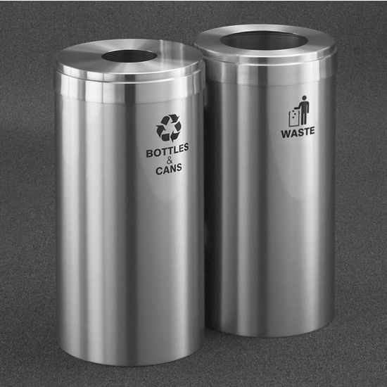 "Glaro 2X RecyclePro Value Series Linear Modular 30 Gallon Capacity Connected Recycling Receptacle Stations, 12"" Diameter Dual Unit (Bottle and Waste) in Satin Aluminum Finish"
