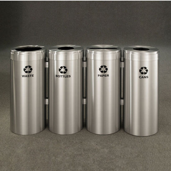 "Glaro 4X RecyclePro Value Series Linear Modular 60 Gallon Capacity Connected Recycling Receptacle Stations, 12"" Diameter Quadruple Unit (Bottle, Paper, Waste and Bottle) in Satin Aluminum Finish"
