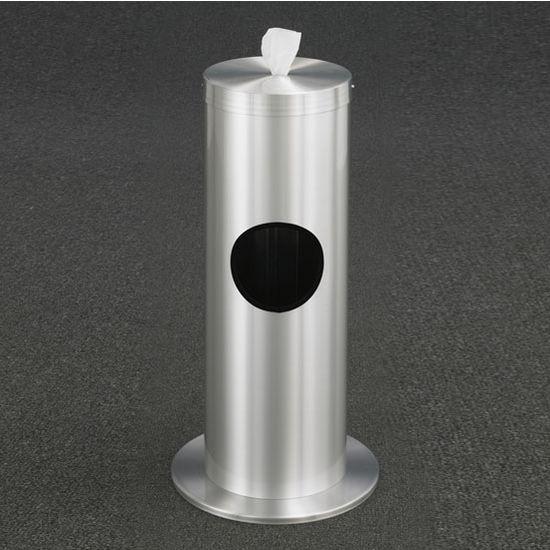 """Glaro Floor Standing 10"""" Diameter Waste Bin with Disinfecting Wipe Dispenser Combo in Satin Aluminum"""