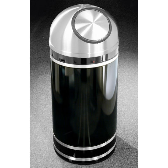 Monte Carlo WasteMaster� Collection Satin Aluminum Cover Dome Top Waste Receptacle