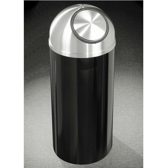 Glaro 8, 12 & 16 Gallon Mount Everest Self Closing Dome Top Waste Receptacles with Satin Aluminum Covers