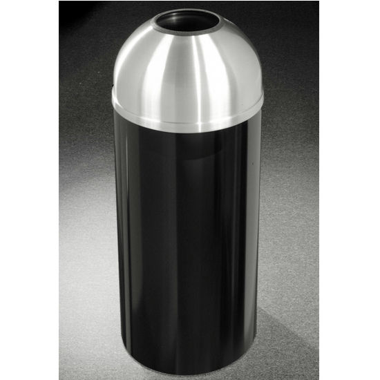 Glaro 8, 12 & 16 Gallon Mount Everest Open Dome Top Waste Receptacles with Satin Aluminum Covers