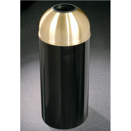 Glaro 8, 12 & 16 Gallon Mount Everest Open Dome Top Waste Receptacles with Satin Brass Covers