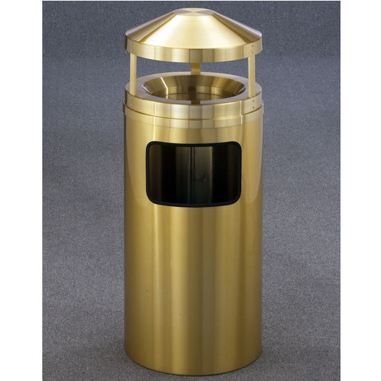 Glaro All Satin Brass Ash/Trash Canopy Top Wastemasters® with Sand Trays