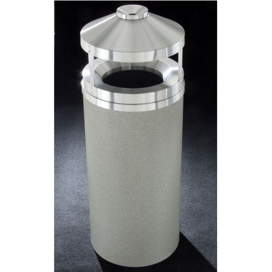 Glaro 12, 16 & 33 Gallon Canopy Top Wastemasters� with Built-In Cigarette Receptacles & Satin Aluminum Covers
