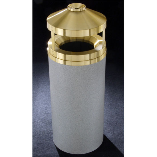 Glaro 12, 16 & 33 Gallon Canopy Top Wastemasters® with Built-In Cigarette Receptacles & Satin Brass Covers