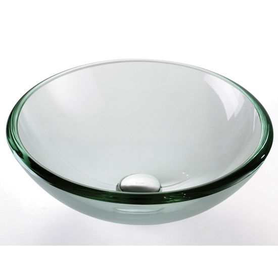 Kraus Clear Glass 19mm Edge Vessel Sink with Pop-Up Drain & Mounting Ring, 17''D x 6''H