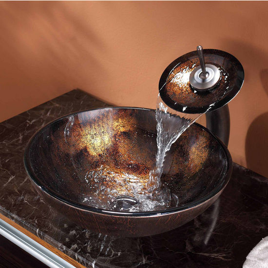 Kraus Pluto Glass Vessel Sink with Pop-Up Drain & Mounting Ring