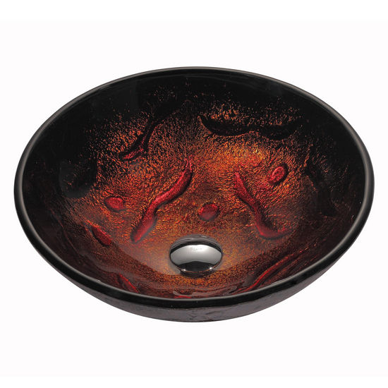 Kraus Lava Glass Vessel Sink with Pop-Up Drain & Mounting Ring