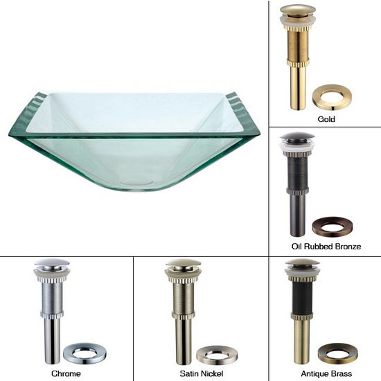 Kraus Aquamarine Square Clear Glass Sink with Pop-Up Drain & Mounting Ring, 16-1/2''W x 16-1/2''D x 6''H