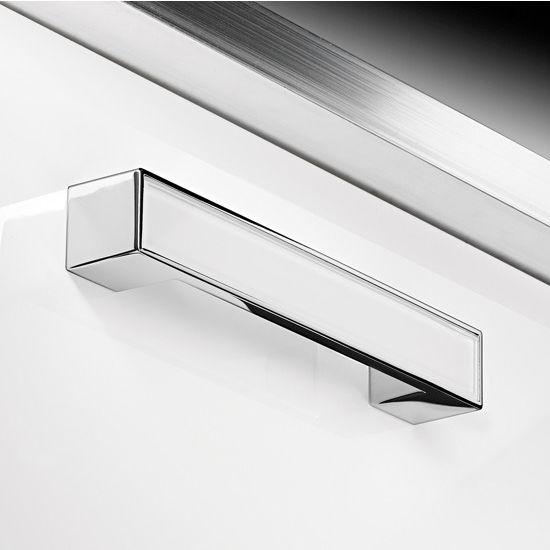 Hafele (6-5/16'' W) Glass Handle in Polished White/Chrome, 164mm W x 25mm D x 25mm H
