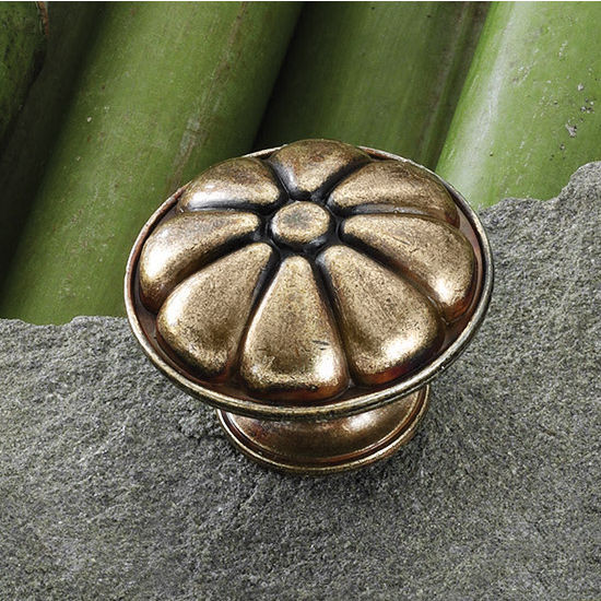 Hafele (1-7/16'') Diameter Traditional Round Knob with Flower Design in Antique Bronze, 36mm Diameter x 25mm D x 21mm Base Diameter