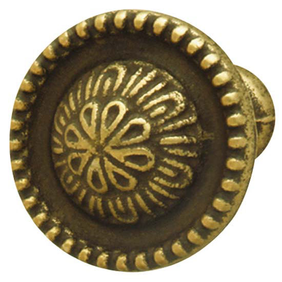 Hafele Classico Collection Knob in Rustic Brass, 27mm (1-1/16'') or 32mm (1-1/4'') Diameter