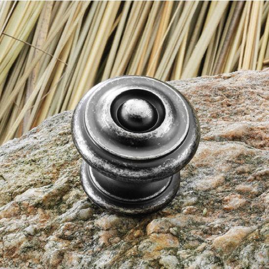 Hafele Somerset Collection 1-1/4'' Dia. Round Knob in Pewter, 30mm Diameter x 28mm D x 23mm Base Diameter