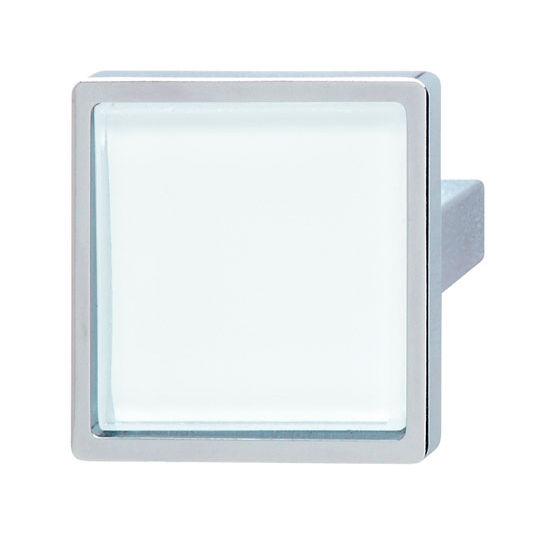 Hafele (1-5/8'' W) Glass Insert Knob with Polished Chrome Base, 40mm W x 29mm D x 40mm H