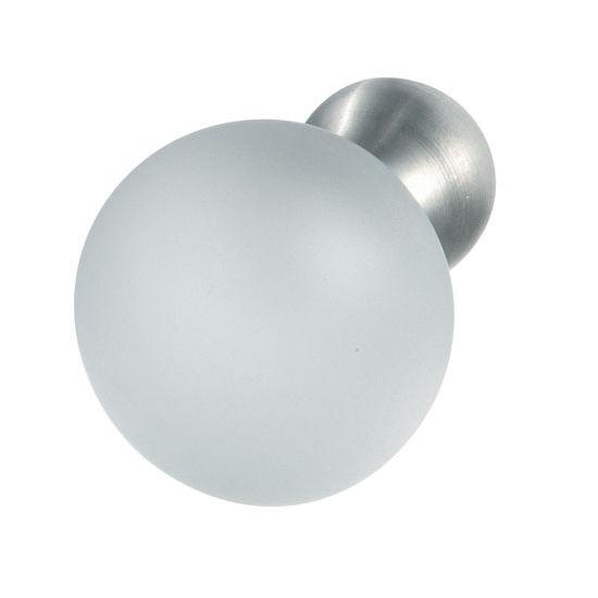 Hafele Crystal/Stainless Steel Knob, 20mm (3/4'') or 25mm (1'') Diameter