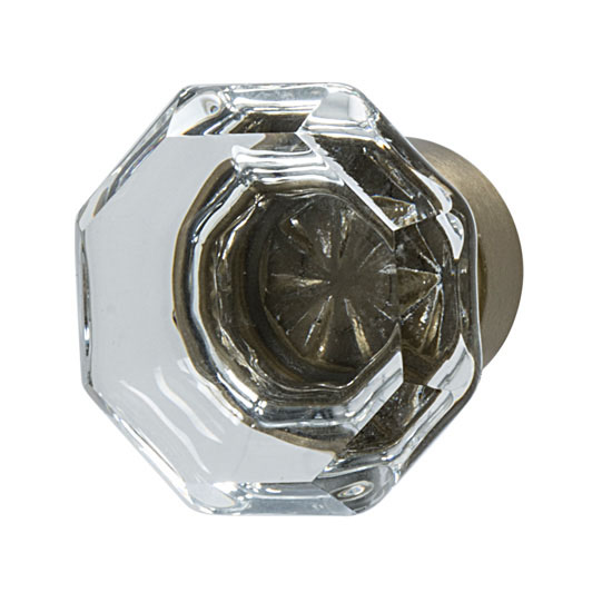 Hafele Amerock Traditional Classics Collection Glass Knob, Clear/ Golden Champagne, 33mm Diameter