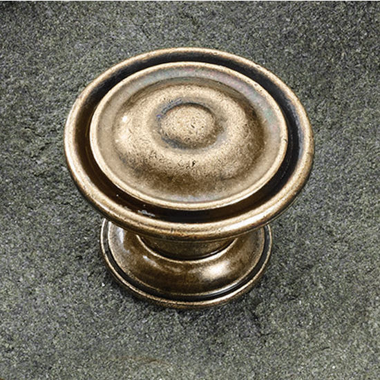Hafele (1-1/4'') Diameter Round Knob in Brushed Bronze, 30mm Diameter x 22.5mm D x 21mm Base Diameter
