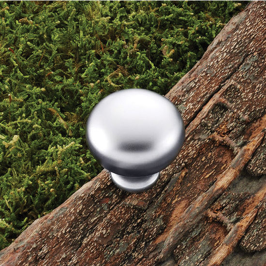 Hafele (1-1/4'') Diameter Mushroom Round Knob in Matt Chrome, 32mm Diameter x 31mm D x 16mm Base Diameter