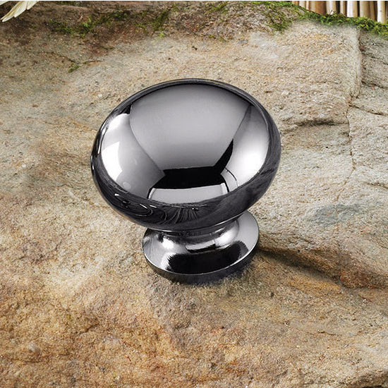 Hafele (1-1/4'') Diameter Mushroom Round Knob in Black Nickel, 31mm Diameter x 29mm D x 19mm Base Diameter