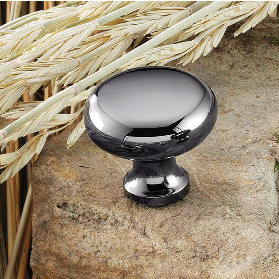 Hafele (1-1/4'') Diameter Mushroom Round Knob in Black Nickel, 31mm Diameter x 28mm D x 15mm Base Diameter