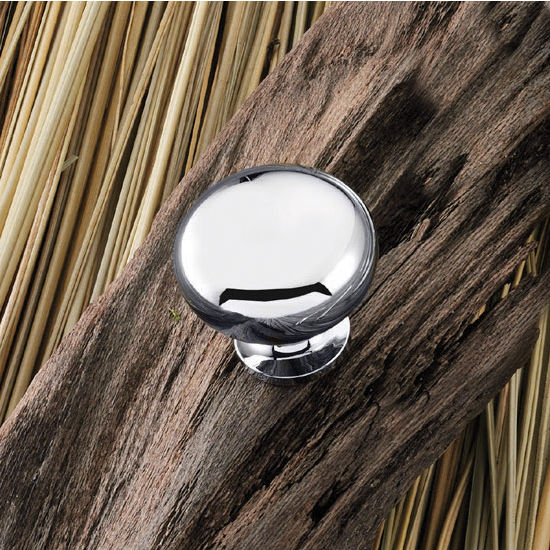 Hafele (1-1/4'') Diameter Mushroom Round Knob in Polished Chrome, 32mm Diameter x 31mm D x 18mm Base Diameter