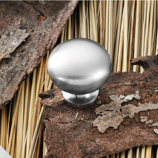 Hafele (1-1/4'') Diameter Mushroom Round Knob in Brushed Nickel, 32mm Diameter x 31mm D x 18mm Base Diameter